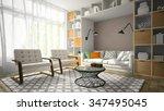interior of modern design room...   Shutterstock . vector #347495045