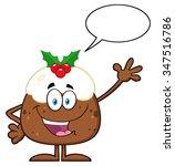 happy christmas pudding cartoon ... | Shutterstock .eps vector #347516786