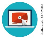 laptop with video player or... | Shutterstock .eps vector #347520386