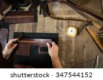 working process of the leather... | Shutterstock . vector #347544152