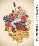 old school tattoo of a handsome ... | Shutterstock . vector #347563052