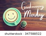good morning monday cup... | Shutterstock . vector #347588522