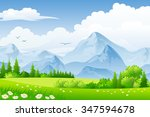 summer landscape with meadows... | Shutterstock .eps vector #347594678