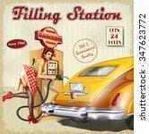 filling station retro poster | Shutterstock .eps vector #347623772