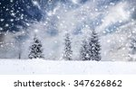 trees covered with hoarfrost... | Shutterstock . vector #347626862