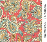 paisley seamless pattern with... | Shutterstock .eps vector #347630006