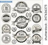 anniversary retro badges... | Shutterstock .eps vector #347636375