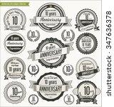 anniversary retro badges... | Shutterstock .eps vector #347636378