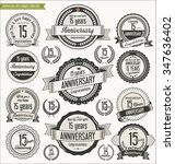 anniversary retro badges... | Shutterstock .eps vector #347636402