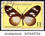 Small photo of SAO TOME AND PRINCIPE - CIRCA 1979: A stamp printed in S.Tome and Principe shows Crenis Boisduvali Insularis, Butterfly series, circa 1979