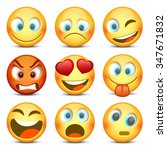 emoji and sad icon set. vector... | Shutterstock .eps vector #347671832