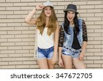 two beautiful and young... | Shutterstock . vector #347672705
