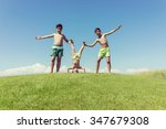 brothers playing upside down on ... | Shutterstock . vector #347679308
