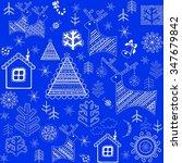 blue winter retro wrapper | Shutterstock .eps vector #347679842