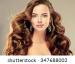 beautiful girl with long wavy... | Shutterstock . vector #347688002