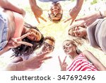 group of guys makes the victory ... | Shutterstock . vector #347692496
