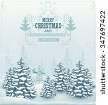christmas card forest winter... | Shutterstock .eps vector #347697422
