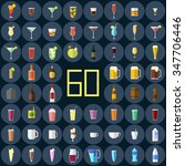 Set Of Drinks. Sixty Flat Icons.