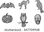 Sketch Halloween Symbols   Set...