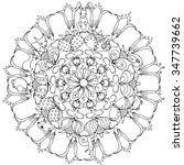 zentangel rosette with animals  ... | Shutterstock .eps vector #347739662