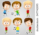 very adorable boy character set ... | Shutterstock .eps vector #347742095