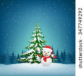 the christmas tree and snowman... | Shutterstock .eps vector #347749292