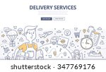 doodle concept of delivery... | Shutterstock .eps vector #347769176