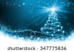 shining blue christmas tree   Shutterstock . vector #347775836