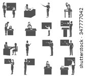 Black  Icons Set With  Teacher...