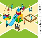 isometric kids playground with... | Shutterstock .eps vector #347780852