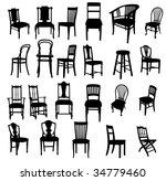 set of antique furniture vector ... | Shutterstock .eps vector #34779460