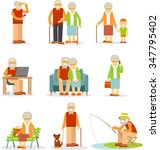 senior man and woman activities ... | Shutterstock .eps vector #347795402