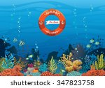 colorful coral reef with fish... | Shutterstock .eps vector #347823758
