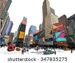 city hand drawn unique... | Shutterstock .eps vector #347835275