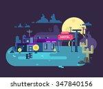 motel night flat design.... | Shutterstock .eps vector #347840156