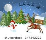 merry christmas card.... | Shutterstock . vector #347843222