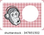 greeting card with chimp face   ...