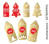 new christmas gold and red sale ...   Shutterstock .eps vector #347859992