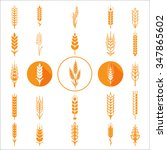 wheat ears icons and logo set... | Shutterstock .eps vector #347865602