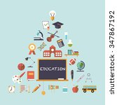 pyramid of education symbols... | Shutterstock .eps vector #347867192