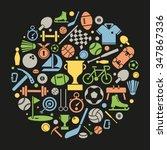 sports symbols vector... | Shutterstock .eps vector #347867336