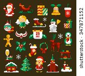 set of christmas and happy new... | Shutterstock . vector #347871152