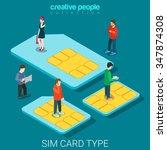 sim card type size flat 3d... | Shutterstock .eps vector #347874308