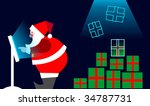 E-commerce: Xmas on line buying. Santa Claus selecting the gifts from a LCD touch screen. - stock photo
