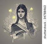 glamour model portrait. vector... | Shutterstock .eps vector #34788463