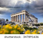 parthenon temple with spring... | Shutterstock . vector #347891636