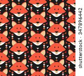 cute fox seamless pattern.... | Shutterstock .eps vector #347896442
