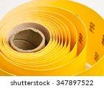 yellow abrasive paper   closeup ...   Shutterstock . vector #347897522