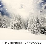 christmas background with snowy ... | Shutterstock . vector #347897912
