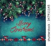 christmas fir tree on ... | Shutterstock . vector #347911145